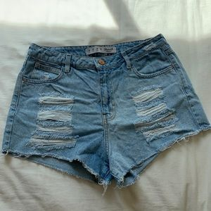 Denim&Co High Waisted Distressed Shorts